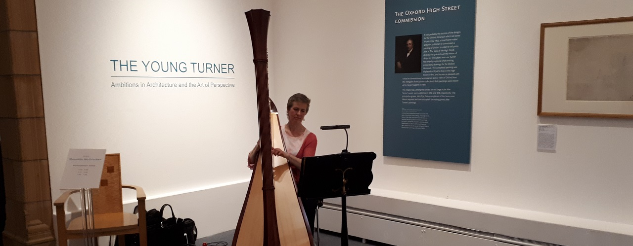 Harpist plays at Museum After Hours.