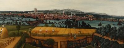 A landscape painting of Worcester from the East, showing agricultural workers and landowners.