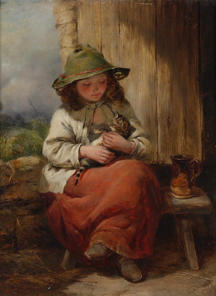 Child with Kitten painting