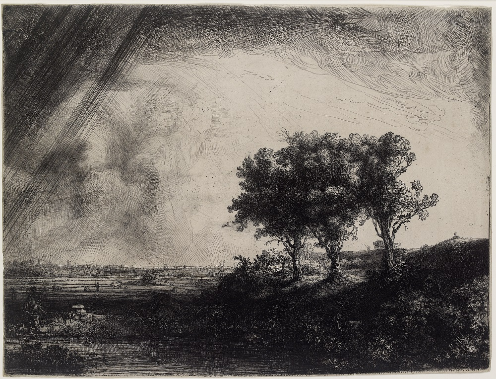Rembrandt van Rijn - The Three Trees 1643, etching with drypoint and engraving I/I Ashmolean Museum, bequeathed by G. O. Farrer through The Art Fund, 1946wa1946.219