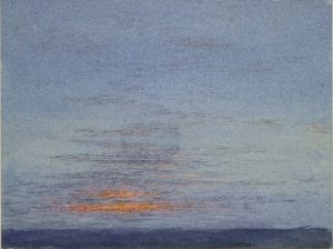 John Ruskin, Study of Dawn: The First Scarlet on the Clouds, 1868 – watercolour and bodycolour over graphite. Ashmolean Museum, presented by John Ruskin to the University of Oxford, 1875 WA.RS.ED.003.