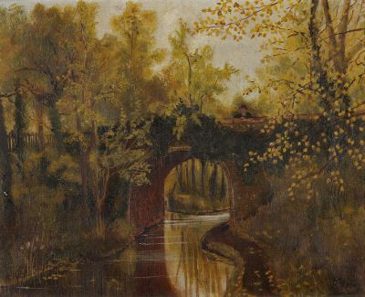 An oil painting of a canal bridge in amongst autumnal trees, with a lone figure leaning over the bridge looking at the reflections in the water.